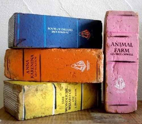Book Bricks. Paint bricks with acrylic paint to look like your favorite novels, use as bookends!
