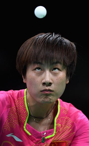 #RIO2016 Ning Ding of China in action during the Womens Table Tennis Singles Final match against Li Xiaoxia of China dat Rio Centro on August 10 2016 in Rio...