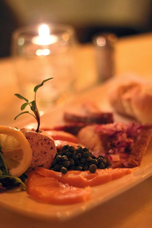 Northern Smoked Fish Platter (Arctic lake trout with white fish) served at the Aurora Village, Yellowknife Canada
