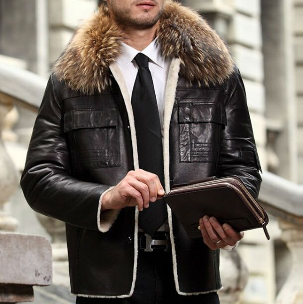 2015 Wholesale Cheap Genuine Men Leather Jacket With Fur Collar ...