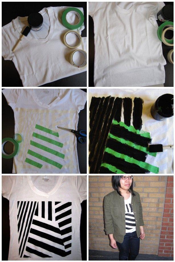 paint a shirt! diy dazzle camouflage stencil        t-shirt via spinsandneedles.
