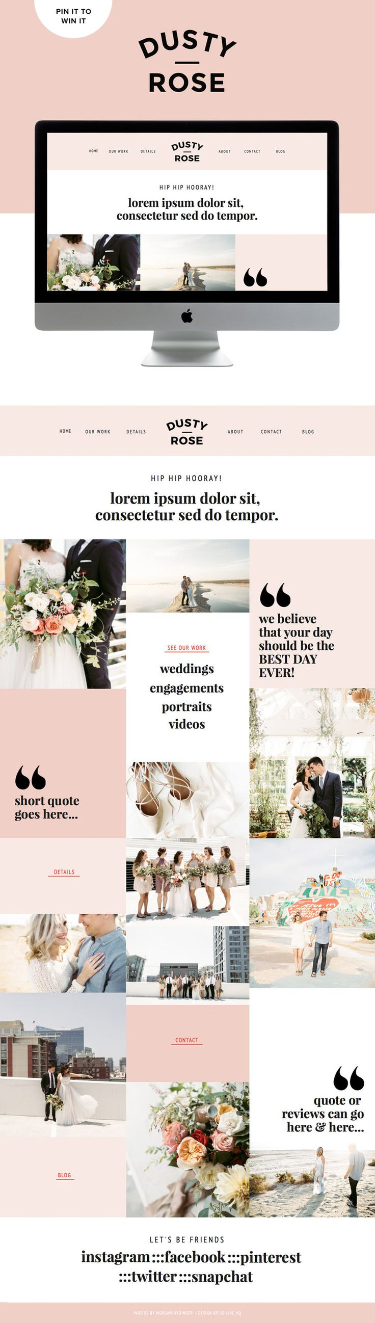 Loving this clean pretty squarespace website inspiration. Dusty Rose template by Go Live HQ. Hoping to win this template for free for my site!
