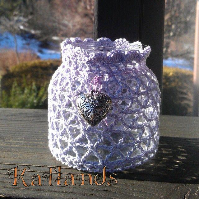 Vasetto porta candela rivestito all'uncinetto - crochet candle jar cover [ ispirazione da molte altre viste in pinterest - inspiration from many other view on pinterest]