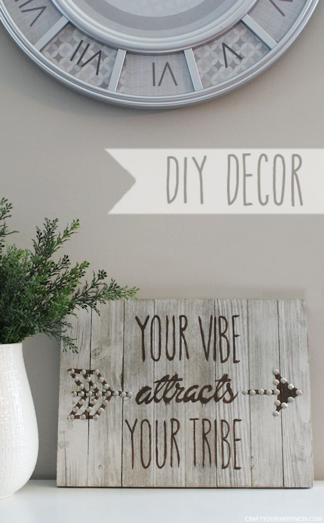 Make this Your Vibe Attracts Your Tribe plaque using our free patterns, a wood plaque, paint and thumbtacks. It's the thumbtacks that make it pop!