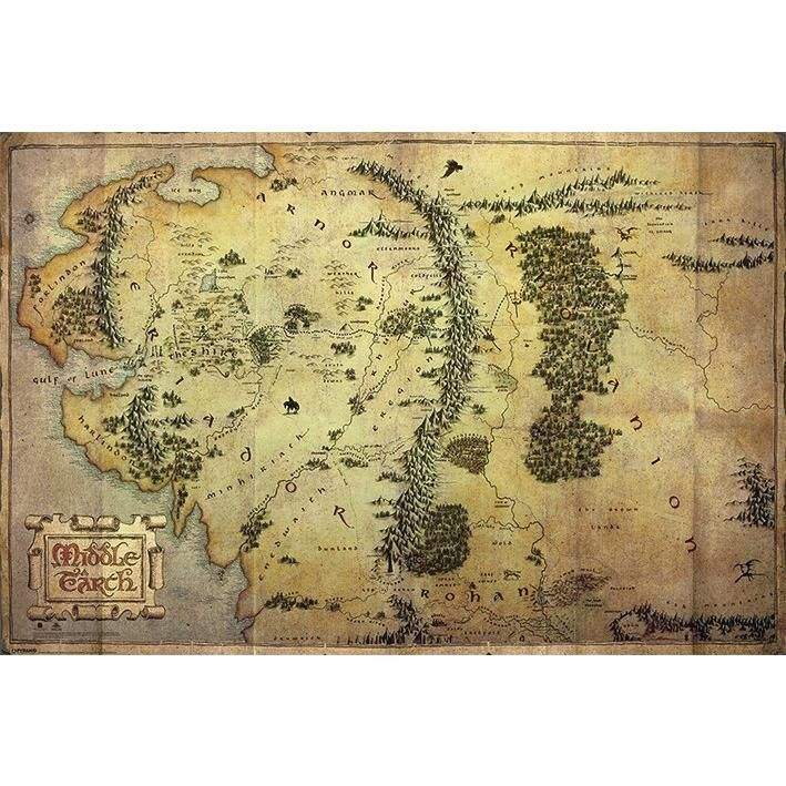 RoomMates The Hobbit Middle Earth Map Peel