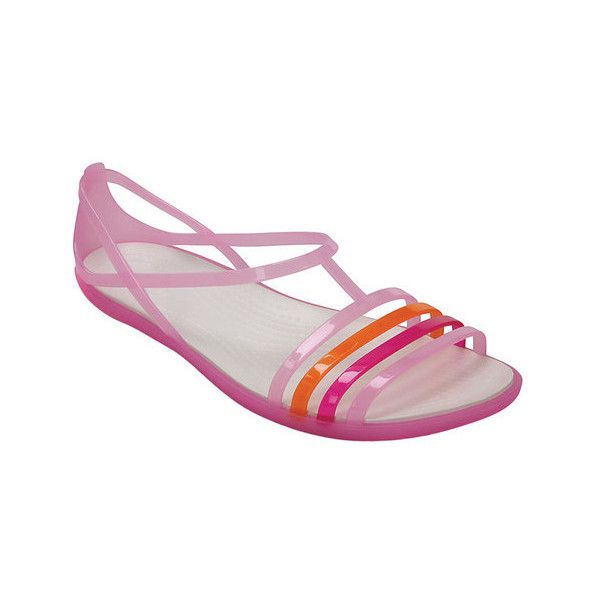 Women's Crocs Isabella Sandal ($40) ❤ liked on Polyvore featuring shoes, sandals, casual, casual footwear, white huaraches, white huarache sandals, white sandals, black huaraches and black strappy sandals