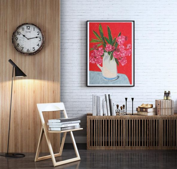 """Follow @kollecto_art on Instagram to see framed artwork for sale and picture it inside your own home!   """"Pink Flowers,"""" Holly Coulis. Archival Pigment Print. //  Kollecto.com"""