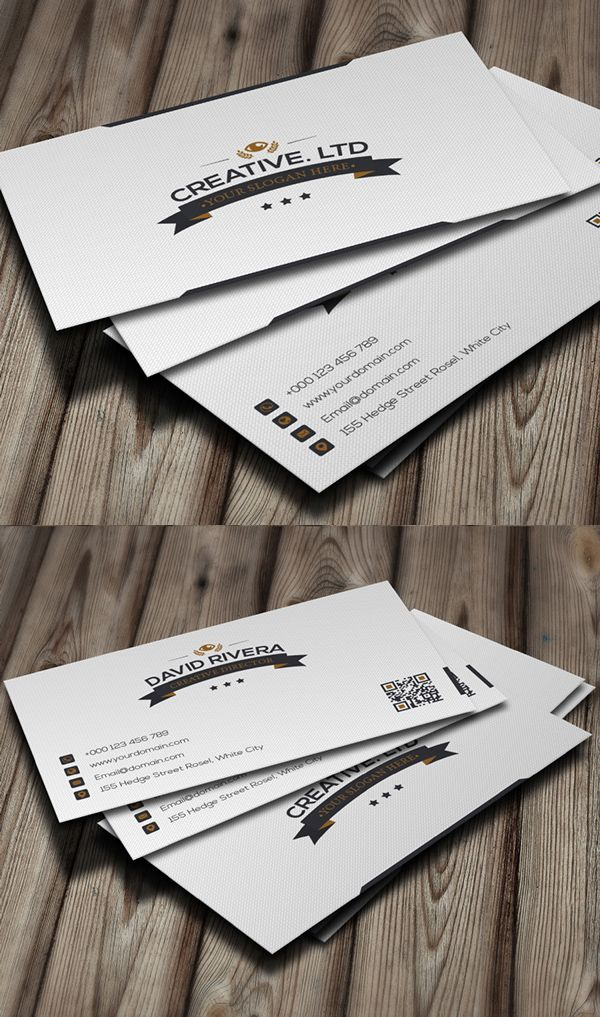 White Classic Business Card #businesscards #corporatedesign #businesscarddesign #psdtemplates
