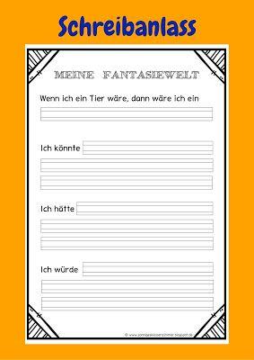 """Sonniges Klassenzimmer: Schreibanlass """"Meine Fantasiewelt"""""""