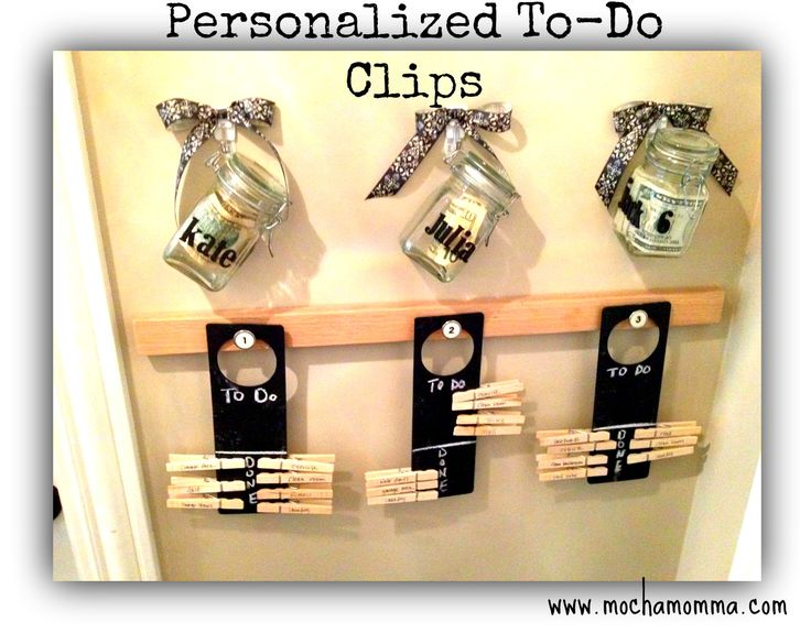 "Chore clips on ""door knob sign"" ToDo lists with hanging allowance jars. (Ready to take chores online? Try FamZoo.com)"