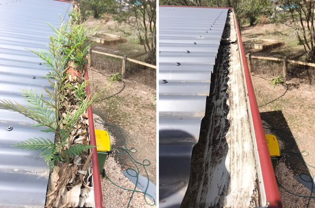 A fantastic before and after from Gutter-Vac Brisbane South West showing the power of the Gutter-Vac vacuum system.