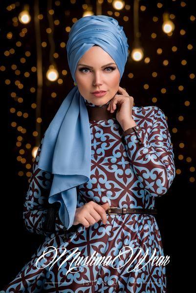 Muslima Wear  Beautiful Dress in Baby Blue & Choco