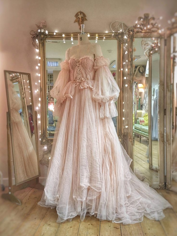 Blush tulle and lace wedding dress with removable sleeves