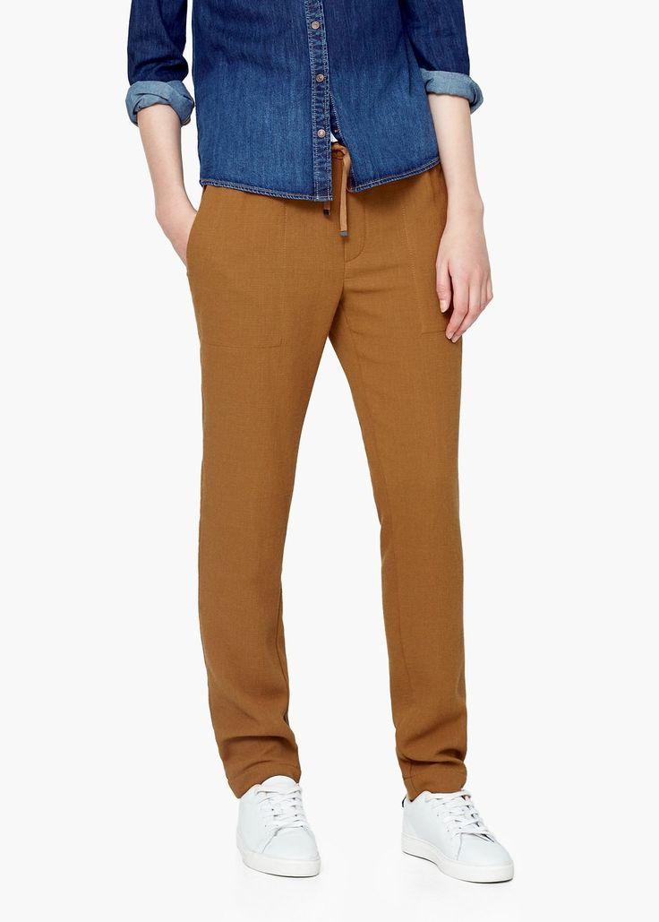 Pantaloni largi textură - Pantaloni pentru Femei | MANGO