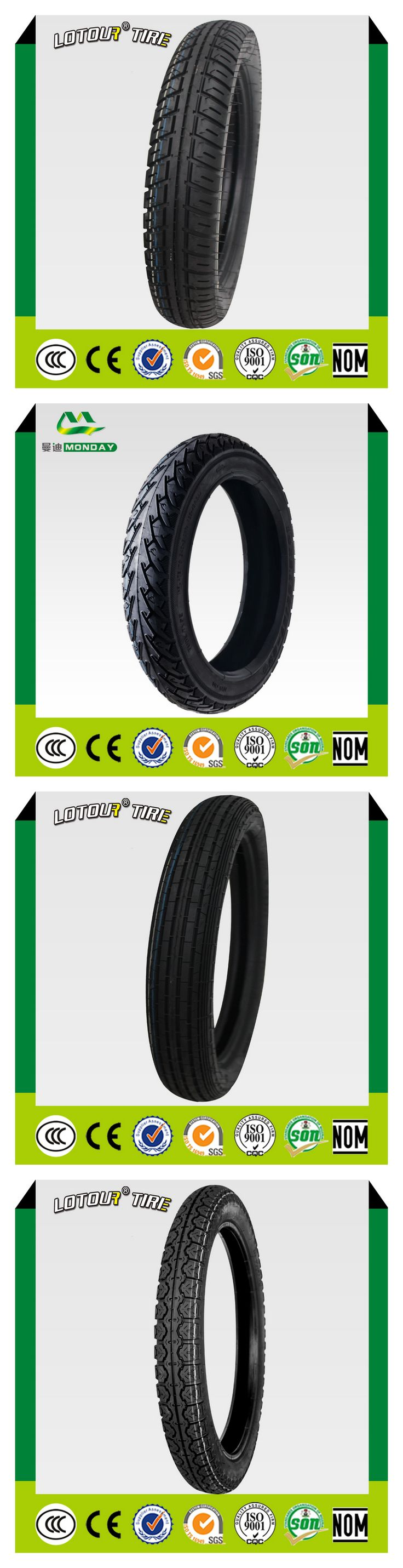 Lotour new motorcycle tire is for sale.We have various patterns.For more detail,please contact me:+8618560450116 Whatsapp:+8618560450116 E-mail:janice@mondaytyre.com Website:www.mondaytyre.com
