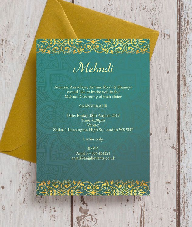 Teal Gold Indian Mehndi Baraat Card In 2020 Wedding