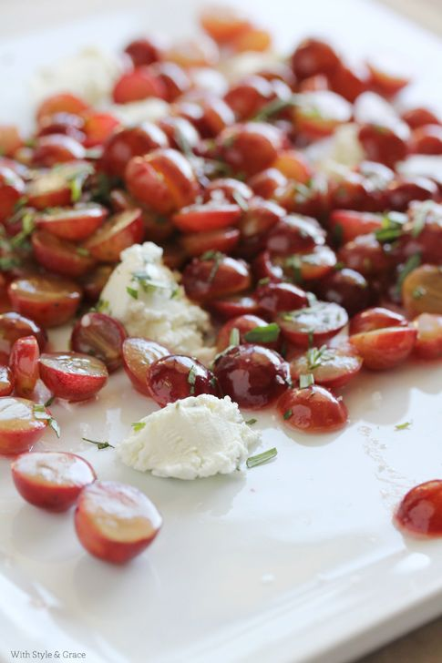 A delicious and unexpected appetizer to switch things up! Sautéed Grapes with Goat Cheese, great with a baguette or crackers. Naturally gluten-free (if served w/rice crackers).