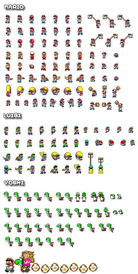 A collection of sprites featuring #Mario #Luigi and #Yoshi in #SuperMario World on the SNES  Source: http://www.superluigibros.com/super-mario-world-sprites-good-guys