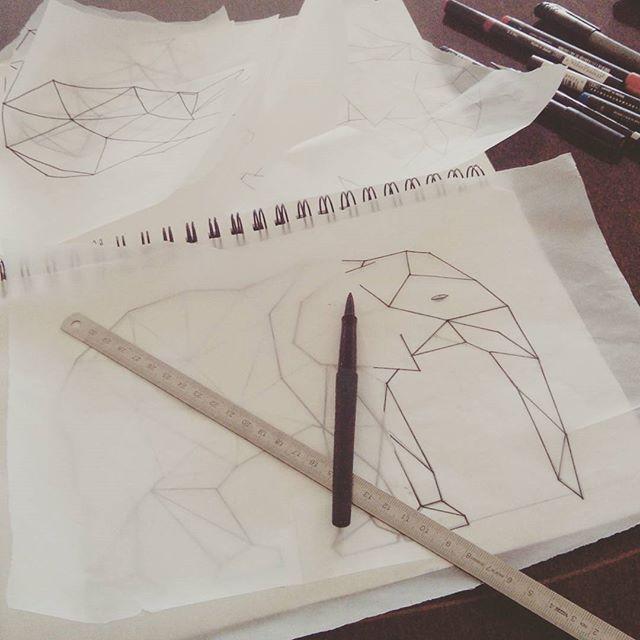 Sketching a new friend for my polar bear! #geometric #linedrawing #elephant #africanelephant #instaart #workinprogress #jensheehan