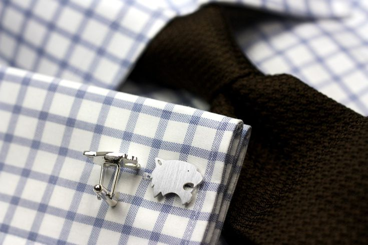 Sterling silver tiger cufflinks
