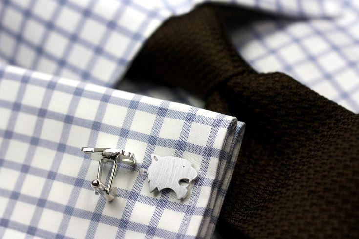 Sterling silver tiger cufflinks