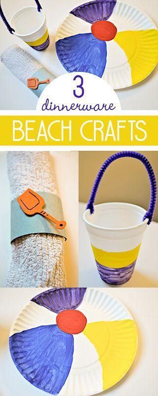 So fun! 3 beach crafts for kids to make as dinnerware!