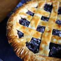 "Alton Brown's Frozen Blueberry Pie Recipe - ""So why freeze the filling? Freezing produces very small ice crystals in the fruit that break up the cell structure so that when the berries thaw they give up considerable amounts of juice, thus creating the sauce of the pie. It's basically a make-ahead pie. """