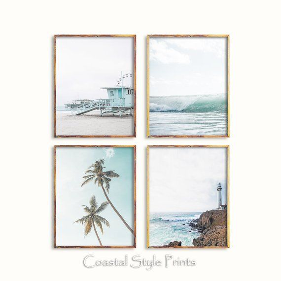 Coastal Print Set Set Of 4 Prints Wall Artprintswall Decor Etsy In 2021 Beach Wall Art Coastal Prints Photography Wall Art