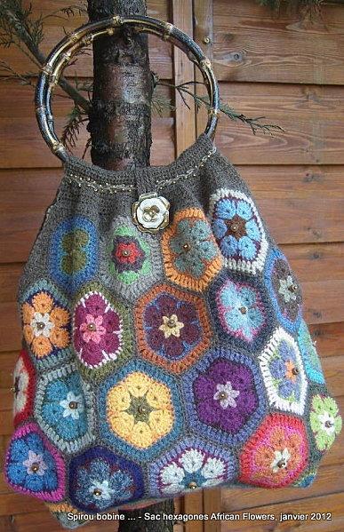 "My ""Mamy African Flower"" bag ;-) in Super Soft of Holst Garn"