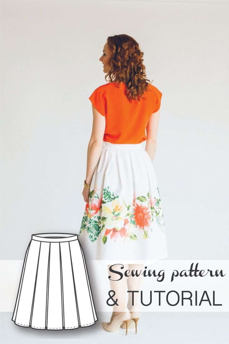Pleated Midi Skirt Pattern Drafting Tutorial and Sewing Tutorial