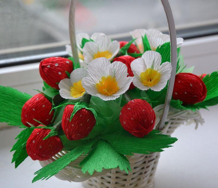 Букет из конфет клубника своими руками пошаговое фото
