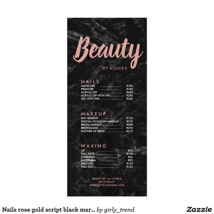 Nails rose gold script black marble price list rack card