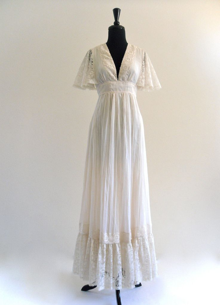Boho ivory lace flutter hippie cotton gauze goddess empire for Lace maxi wedding dress
