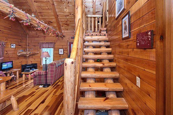 Full Log Stairs In Lovers Loft Hocking Hills Ohio Rental Cabin Hocking Hills Ohio Cabins Indoor Hot Tub Family Vacation Cabin