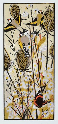 """Michaelmas Goldfinches"", woodcut by Robert Greenhalf; 39cm x 16cm   £95.00 Edition of 100"