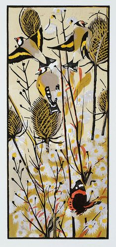"""Michaelmas Goldfinches"", woodcut by Robert Greenhalf; 39cm x 16cm   £95.00 Edition of 100"