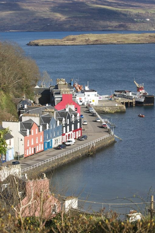 Tobermory ~ is the capital of and the only burgh on, the Isle of Mull in the Scottish Inner Hebrides.