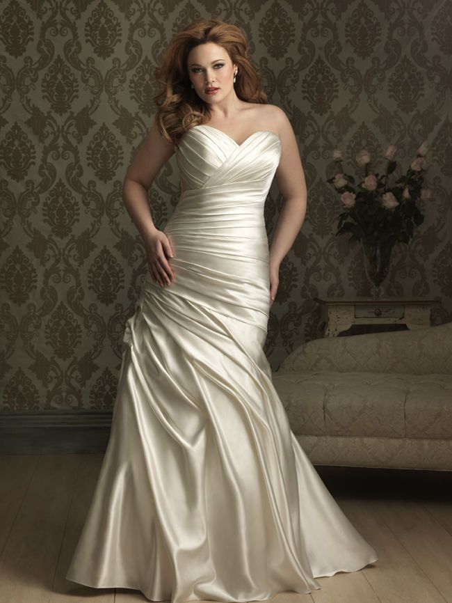 Ivory Satin Curvy Wedding Dress - 25 Best Curvy Wedding Dresses for Plus-Size Brides - EverAfterGuide