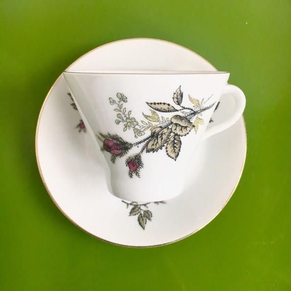 Vintage Arabia Finland ceramic edge gold plated rose coffee