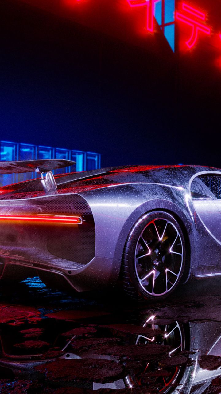 Neon Bugatti : bugatti, Bugatti, Chiron,, Lights,, Luxury, 720x1280, Wallpaper, Wallpapers,