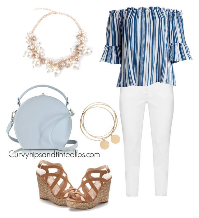 """""""Summer Boardwalk Outfit White Jeans and Off the Shoulder Top with Wedges Plus sized"""" by alizabeths on Polyvore featuring Zhenzi, Derek Heart, Jennifer Lopez, Bertoni and plus size clothing"""