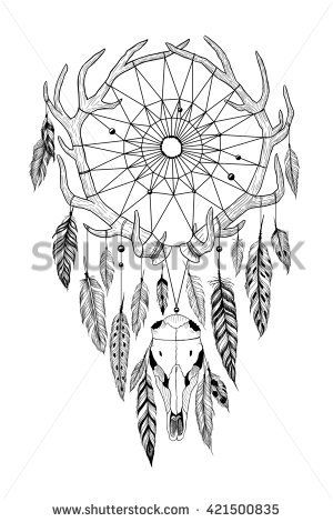Detailed mystical dreamcatcher made of antlers with deer's skull. Raster.