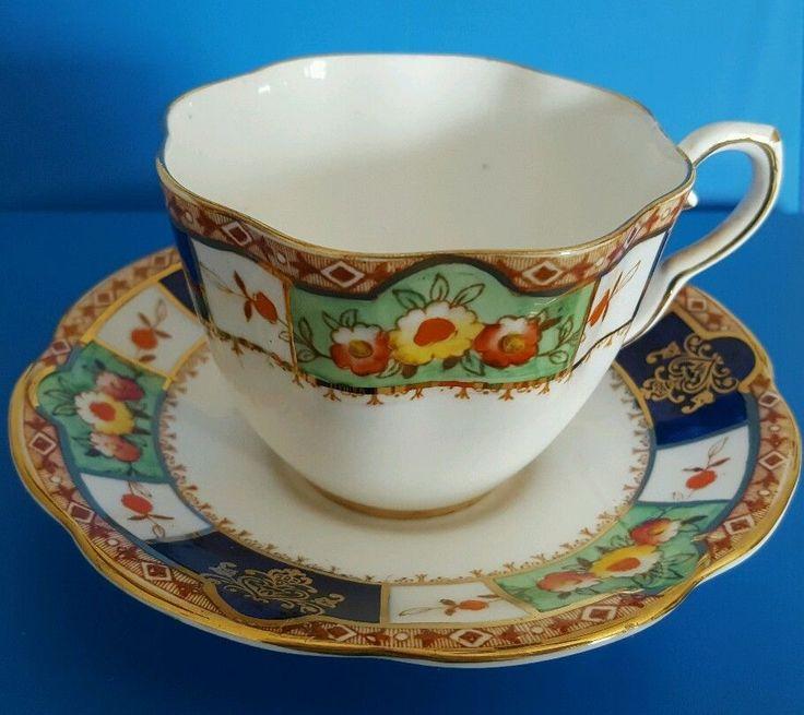 Taylor& Kent Bone China Tea Cup and Saucer with gold trim