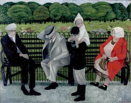 Alfred Daniels – THE PARK BENCH, Oil on board, 55 x 70cm
