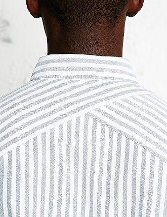 Interesting striped yoke on shirt back