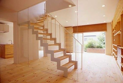 White Colored Wooden Staircase Design