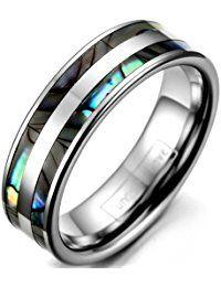 JewelryWe Schmuck 6mm Breite Wolframcarbid Damen-Ring Poliert mit Doppel Abalone Inlay Partnerringe Verlobung Hochzeit Band Größe 47 bis 63