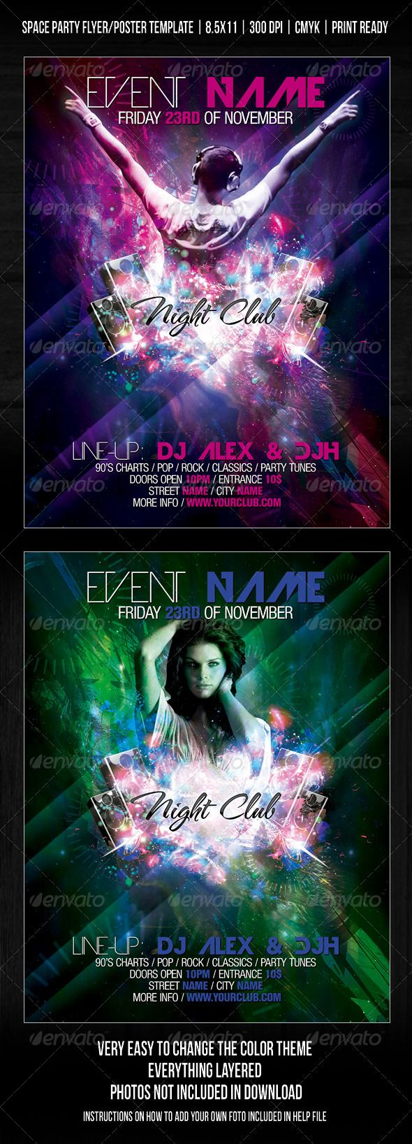 8 5x11 poster design - Night Club Space Party Flyer Poster Template V2