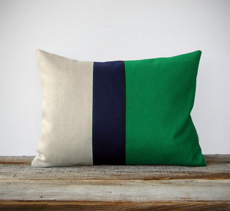 Color Block Stripe Pillow in Kelly Green, Navy and Natural Linen by JillianReneDecor Modern Home Decor Emerald Green Decorative Pillow. $45.00, via Etsy.