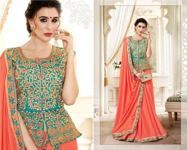 Latest sari stitched long blouse wedding Indian Bollywood women's bridal Sarees #DESIGNER #saree